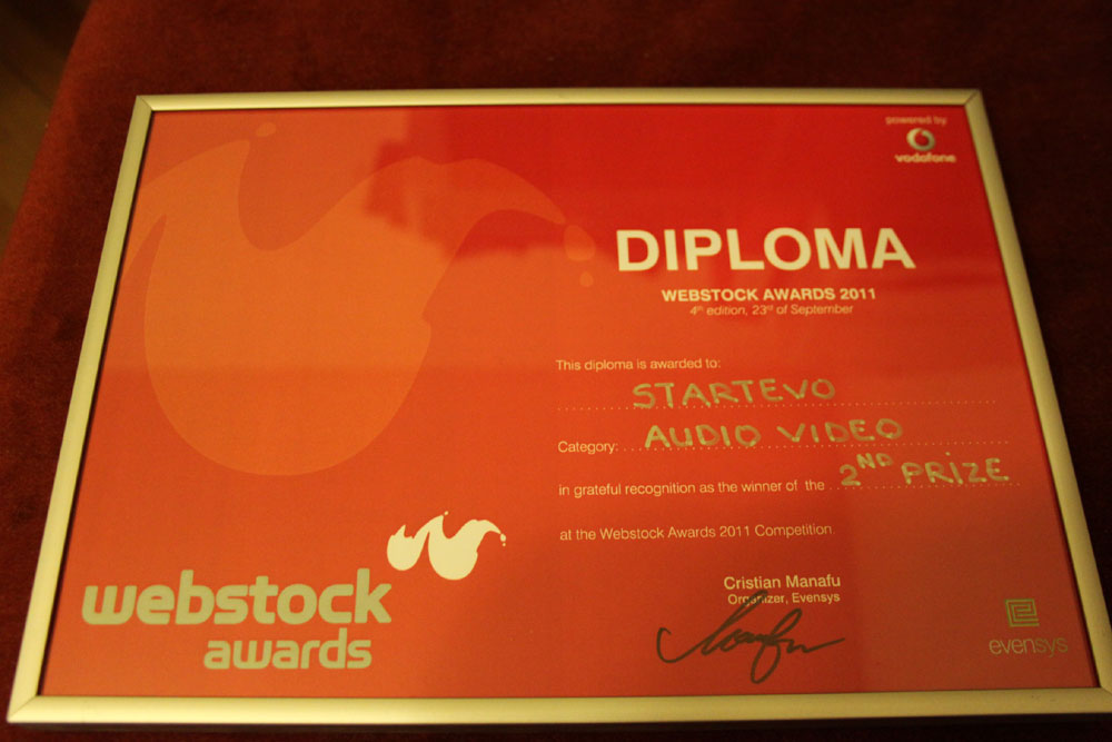 We won 2nd place with StartEvo at Webstock 2011
